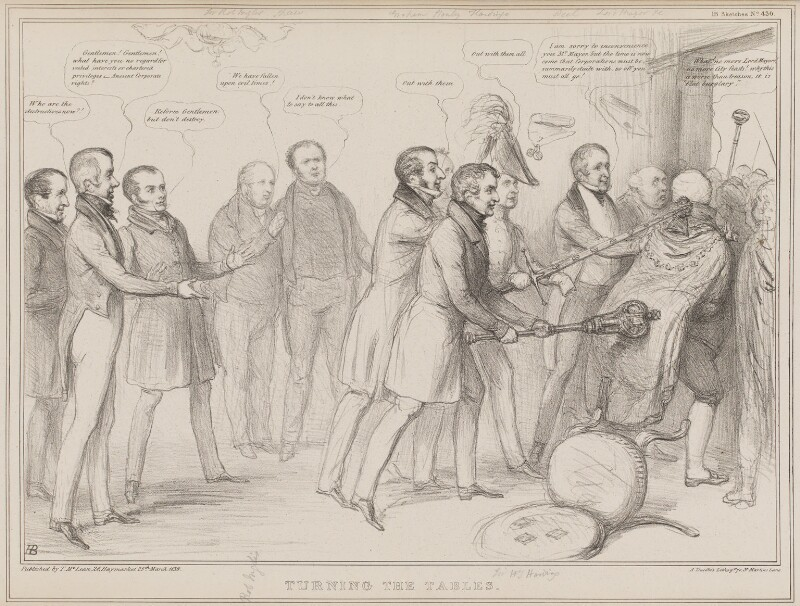 Turning the Tables, by John ('HB') Doyle, printed by  Alfred Ducôte, published by  Thomas McLean, published 25 March 1836 - NPG D41364 - © National Portrait Gallery, London
