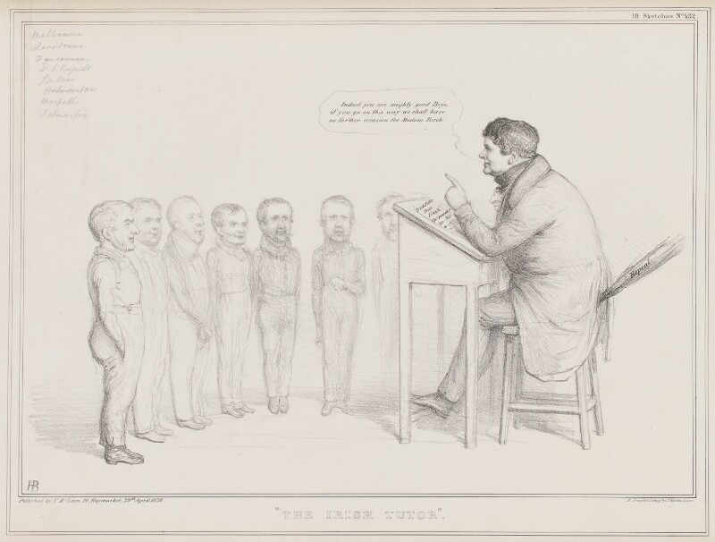 The Irish Tutor, by John ('HB') Doyle, printed by  Alfred Ducôte, published by  Thomas McLean, published 29 April 1836 - NPG D41366 - © National Portrait Gallery, London