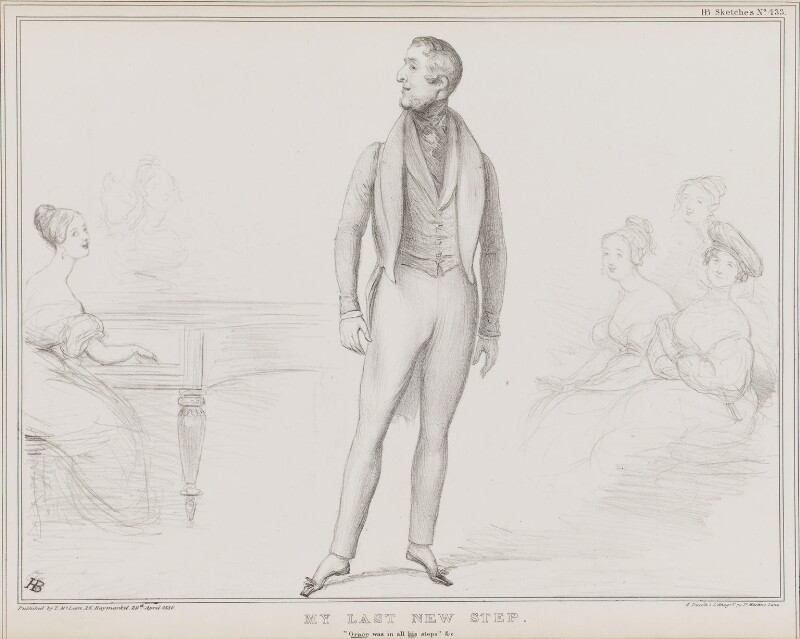 My Last New Step (William George Spencer Cavendish, 6th Duke of Devonshire), by John ('HB') Doyle, printed by  Alfred Ducôte, published by  Thomas McLean, published 29 April 1836 - NPG D41367 - © National Portrait Gallery, London