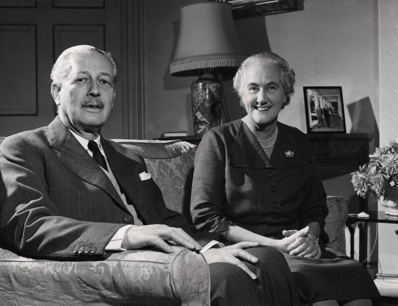 Harold Macmillan, 1st Earl of Stockton; Lady Dorothy Evelyn Macmillan (née Cavendish), by Unknown photographer, December 1959 - NPG x136153 - © National Portrait Gallery, London