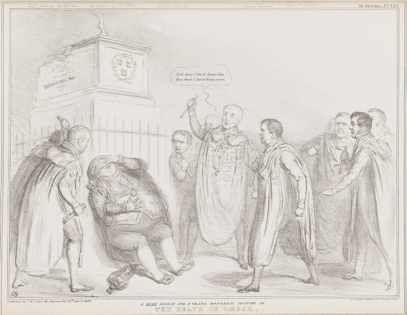 The Death of Caesar, by John ('HB') Doyle, printed by  Alfred Ducôte, published by  Thomas McLean, published 29 April 1836 - NPG D41368 - © National Portrait Gallery, London