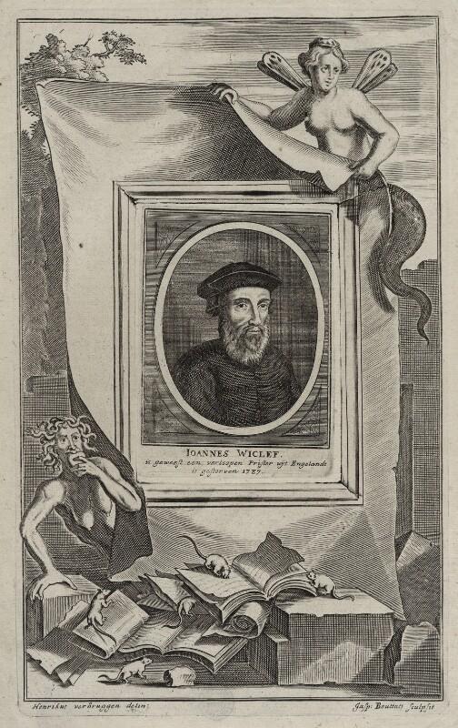 John Wyclif, by Gaspar Bouttats, after  Hendrik-Frans Verbruggen, late 17th century - NPG D42323 - © National Portrait Gallery, London