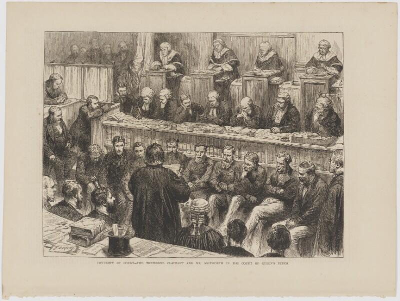 Contempt of Court (includes Arthur Orton; George Borman Skipworth; Colin Blackburn, Baron Blackburn of Killearn and 34 other figures), by Godefroy Durand, published 1874 - NPG D42341 - © National Portrait Gallery, London