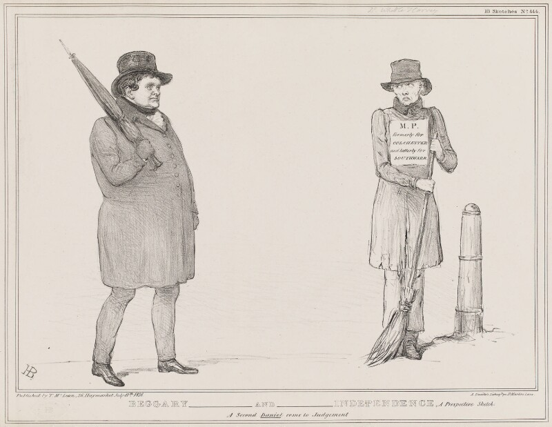 Beggary and Independence (Daniel O'Connell; Daniel Whittle Harvey), by John ('HB') Doyle, printed by  Alfred Ducôte, published by  Thomas McLean, published 11 July 1836 - NPG D41378 - © National Portrait Gallery, London