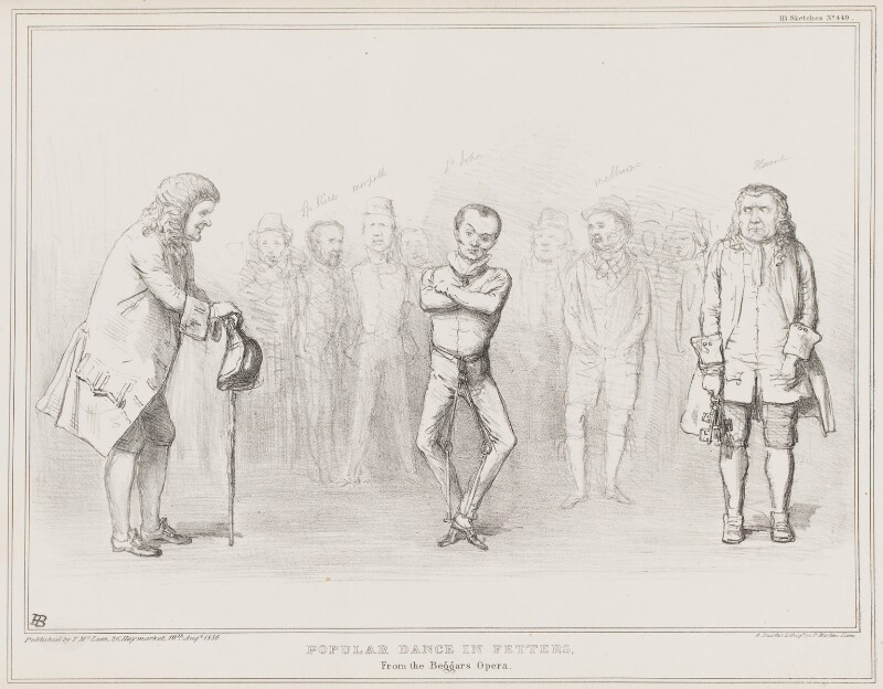 Popular Dance in Fetters, from the Beggars Opera, by John ('HB') Doyle, printed by  Alfred Ducôte, published by  Thomas McLean, published 10 August 1836 - NPG D41383 - © National Portrait Gallery, London