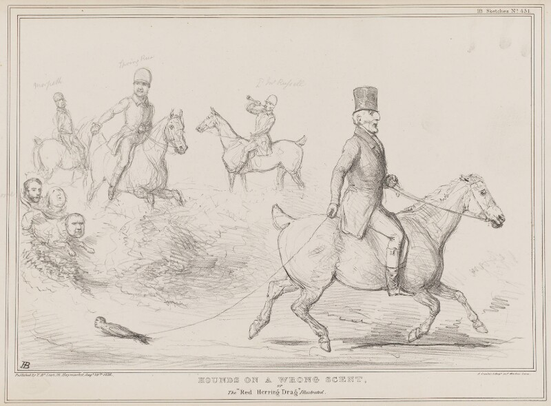 Hounds on a Wrong Scent, by John ('HB') Doyle, printed by  Alfred Ducôte, published by  Thomas McLean, published 29 August 1836 - NPG D41385 - © National Portrait Gallery, London