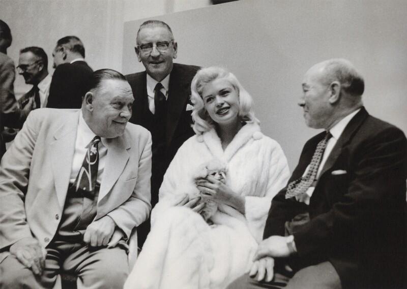 Jayne Mansfield; Ted Hill; Morgan Phillips; William John Carron, Baron Carron, by Neil Libbert, 1959 - NPG x136291 - © Neil Libbert