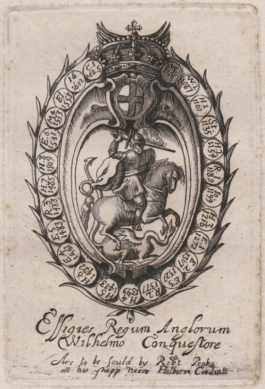 Title for 'Effigies Regum Anglorum a Wilhelmo Conquestore' (King William I ('The Conqueror')?), probably by William Faithorne, published by  Sir Robert Peake, circa 1640 - NPG D42356 - © National Portrait Gallery, London