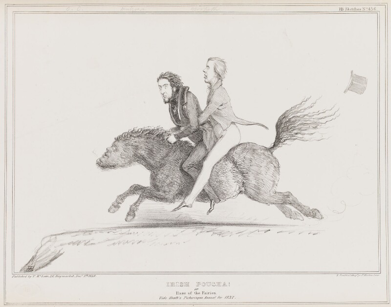 Irish Poucha [Pooka], by John ('HB') Doyle, printed by  Alfred Ducôte, published by  Thomas McLean, published 1 December 1836 - NPG D41390 - © National Portrait Gallery, London