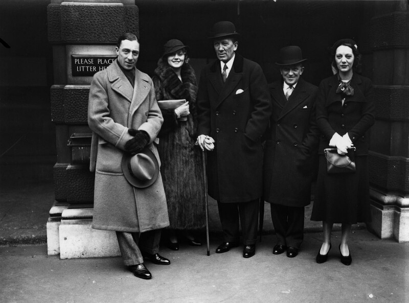 Clifford Lely Mollison; (Elsie) Evelyn Laye; Sir Gerald Du Maurier; Nelson Keep; Gertrude Lawrence, by George Woodbine, for  Daily Herald, 23 February 1932 - NPG x136412 - © Science & Society Picture Library / National Portrait Gallery, London