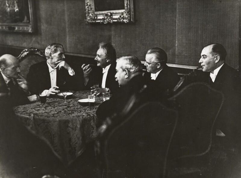 Max Planck; Ramsay MacDonald; Albert Einstein; Hermann Dietrich; Hermann Schmitz; Julius Curtius, by Erich Salomon, 28 July 1931 - NPG P1699 -