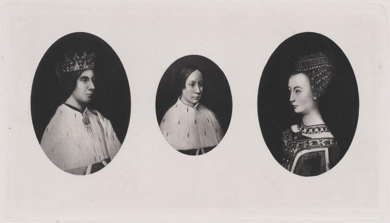 James III of Scotland; James IV of Scotland; Margaret of Denmark, after Hugo van der Goes, published 1902 (1478-1480) - NPG D42377 - © National Portrait Gallery, London