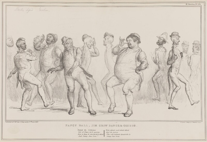 Fancy Ball - Jim Crow Dance & Chorus, by John ('HB') Doyle, printed by  Alfred Ducôte, published by  Thomas McLean, published 17 April 1837 - NPG D41412 - © National Portrait Gallery, London