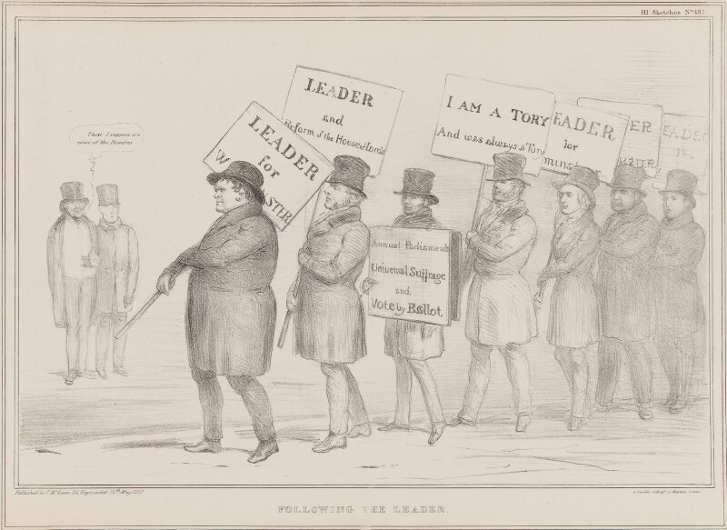 Following the Leader, by John ('HB') Doyle, printed by  Alfred Ducôte, published by  Thomas McLean, published 12 May 1837 - NPG D41416 - © National Portrait Gallery, London