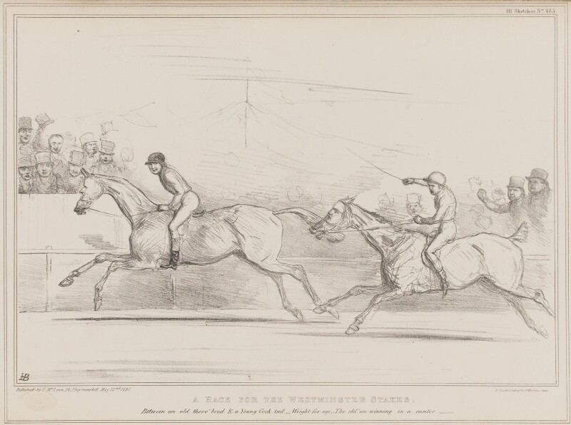 A Race for the Westminster Stakes, by John ('HB') Doyle, printed by  Alfred Ducôte, published by  Thomas McLean, published 22 May 1837 - NPG D41419 - © National Portrait Gallery, London