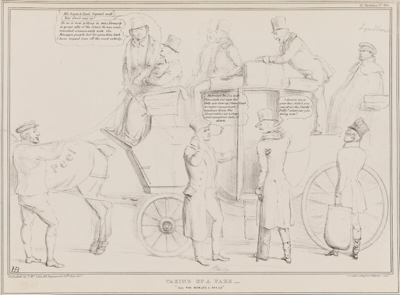 Taking up a Fare, by John ('HB') Doyle, printed by  Alfred Ducôte, published by  Thomas McLean, published 24 May 1837 - NPG D41420 - © National Portrait Gallery, London