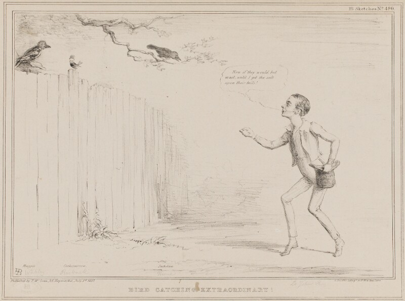 Bird Catching Extraordinary! (Thomas Wakley; John Arthur Roebuck; Joseph Hume, John Russell, 1st Earl Russell), by John ('HB') Doyle, printed by  Alfred Ducôte, published by  Thomas McLean, published 1 July 1837 - NPG D41424 - © National Portrait Gallery, London