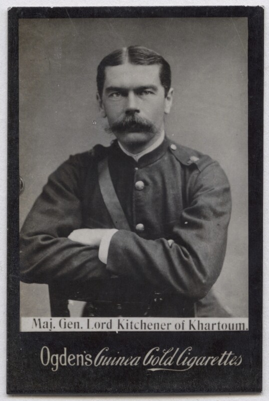 Herbert Kitchener, 1st Earl Kitchener, by Elliott & Fry, published by  Ogden's, published circa late 1890s (circa 1885) - NPG x136566 - © National Portrait Gallery, London