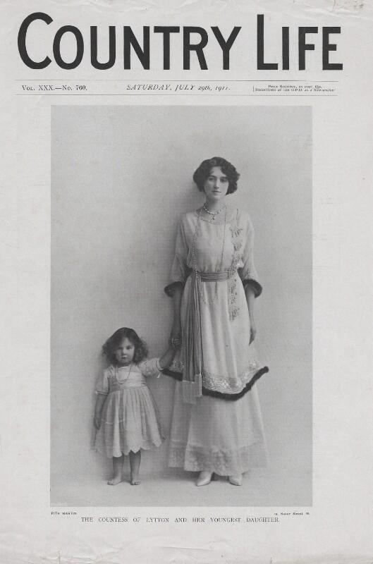 Pamela Bulwer-Lytton (née Chichele-Plowden), Countess of Lytton; Davina Katharine Woodhouse (née Bulwer-Lytton), by Rita Martin, published 29 July 1911 - NPG x136578 - © reserved; collection National Portrait Gallery, London