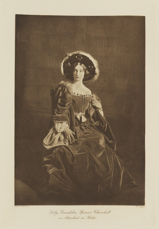 Lady Gwendeline Theresa Mary Spencer Churchill (née Bertie) as Attendant on Portia in 'The Merchant of Venice', by Langfier Ltd, published by  Hudson & Kearns Ltd, 20 June 1911, published 1912 - NPG Ax135789 - © National Portrait Gallery, London