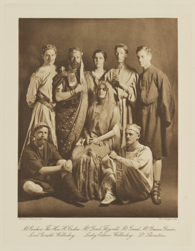 Group in fancy dress for the Shakespeare Memorial National Theatre Ball, by Langfier Ltd, published by  Hudson & Kearns Ltd, 20 June 1911, published 1912 - NPG Ax135796 - © National Portrait Gallery, London