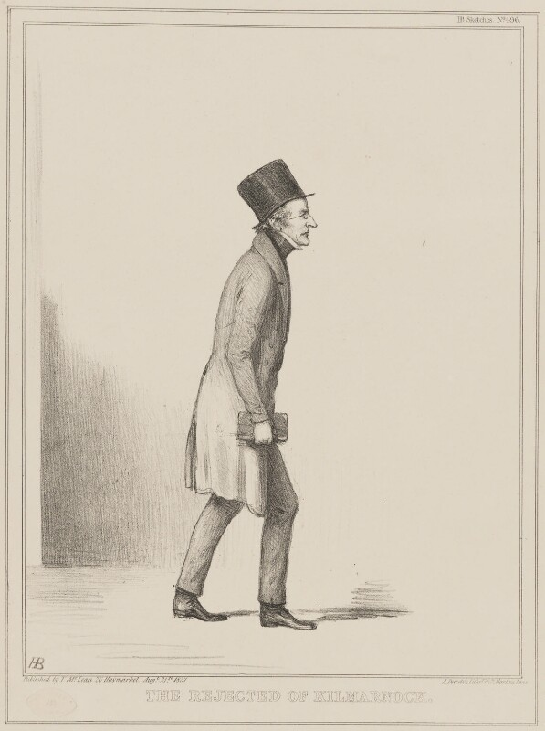 The Rejected of Kilmarnock (Sir John Bowring), by John ('HB') Doyle, printed by  Alfred Ducôte, published by  Thomas McLean, published 21 August 1837 - NPG D41430 - © National Portrait Gallery, London