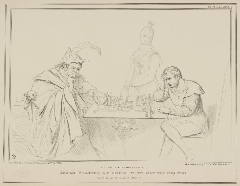 Satan Playing at Chess with Man for his Soul (Daniel O'Connell; Britannia; William Lamb, 2nd Viscount Melbourne), by John ('HB') Doyle, printed by  Alfred Ducôte, published by  Thomas McLean, published 29 September 1837 - NPG D41436 - © National Portrait Gallery, London