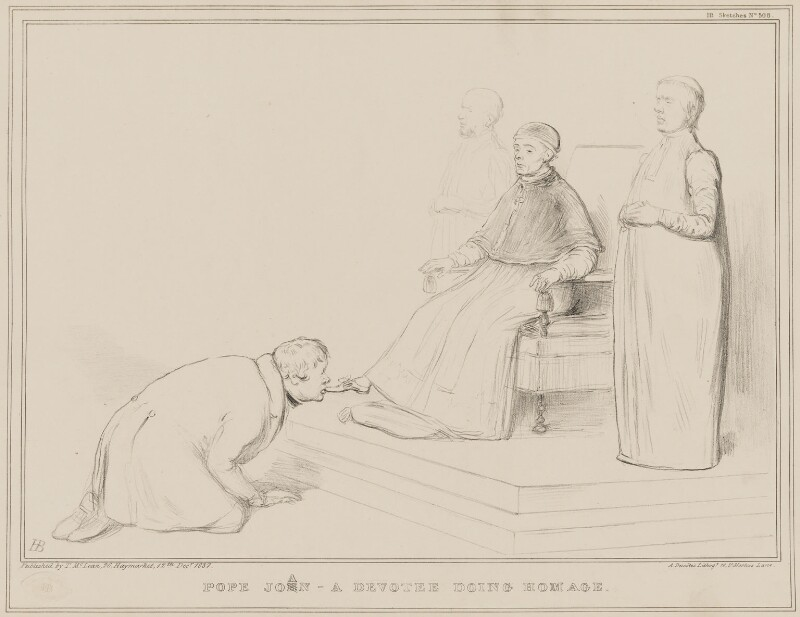 Pope Joan - A Devotee doing Homage, by John ('HB') Doyle, printed by  Alfred Ducôte, published by  Thomas McLean, published 12 December 1837 - NPG D41442 - © National Portrait Gallery, London