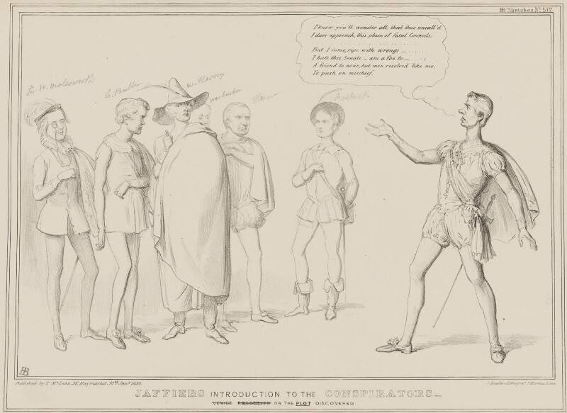 Jaffiers Introduction to the Conspirators, by John ('HB') Doyle, printed by  Alfred Ducôte, published by  Thomas McLean, published 10 January 1838 - NPG D41446 - © National Portrait Gallery, London