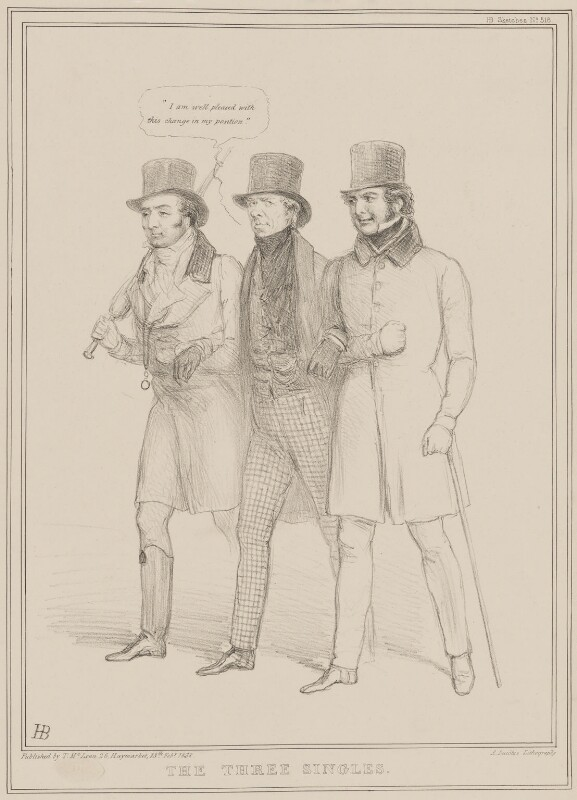 The Three Singles, by John ('HB') Doyle, printed by  Alfred Ducôte, published by  Thomas McLean, published 13 February 1838 - NPG D41452 - © National Portrait Gallery, London