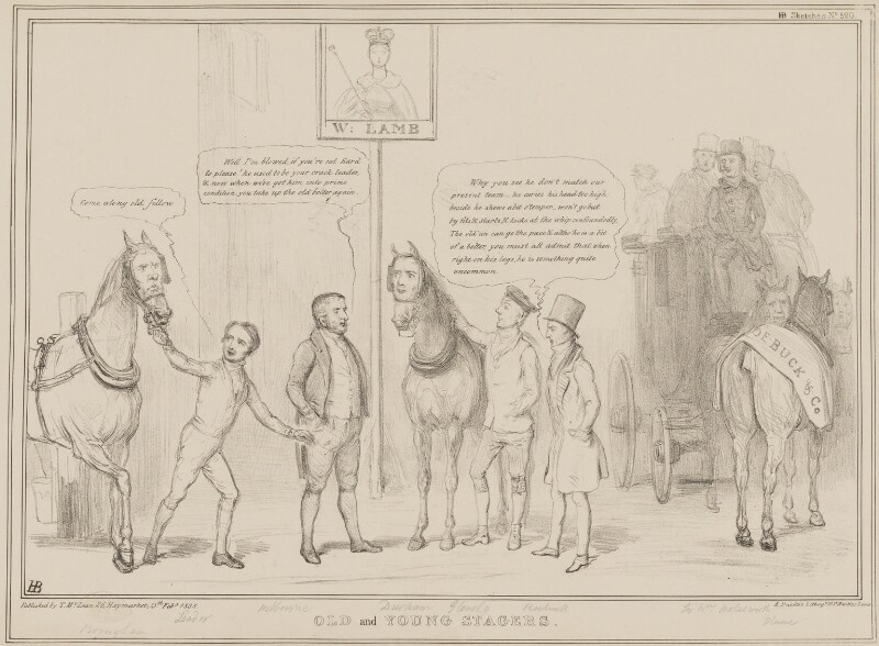 Old and Young Stagers, by John ('HB') Doyle, printed by  Alfred Ducôte, published by  Thomas McLean, published 13 February 1838 - NPG D41454 - © National Portrait Gallery, London