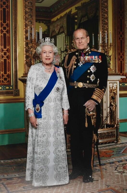 Queen Elizabeth II; Philip, Duke of Edinburgh, by John Swannell, November 2011 - NPG P1703 - © John Swannell / Camera Press