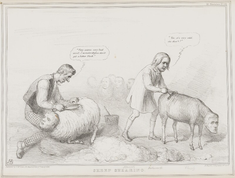 Sheep Shearing, by John ('HB') Doyle, printed by  Alfred Ducôte, published by  Thomas McLean, published 3 April 1838 - NPG D41465 - © National Portrait Gallery, London