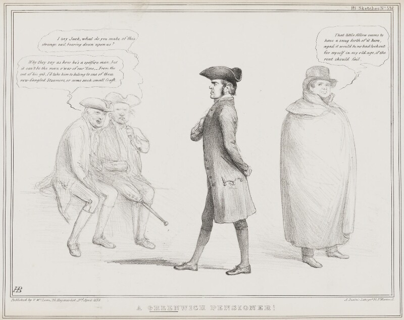 A Greenwich Pensioner (Richard Lalor Sheil; Daniel O'Connell), by John ('HB') Doyle, printed by  Alfred Ducôte, published by  Thomas McLean, published 3 April 1838 - NPG D41466 - © National Portrait Gallery, London