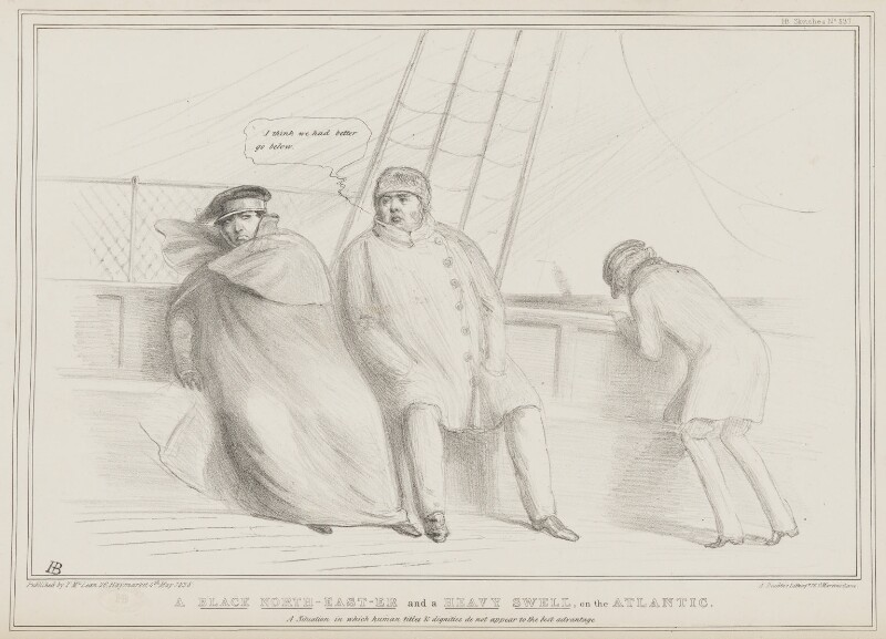 A Black North-East-er and a Heavy Swell, on the Atlantic, by John ('HB') Doyle, printed by  Alfred Ducôte, published by  Thomas McLean, published 4 May 1838 - NPG D41471 - © National Portrait Gallery, London