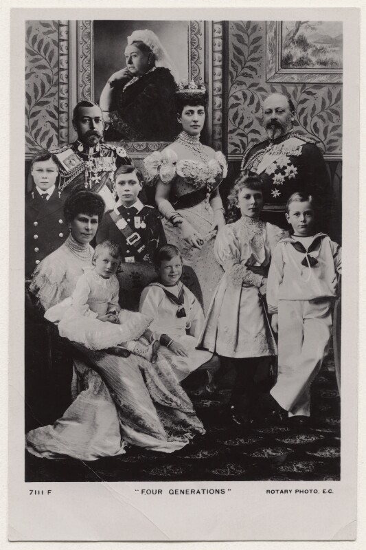 'Four Generations', published by Rotary Photographic Co Ltd, after  Lafayette (Lafayette Ltd), and  William Slade Stuart, and  Unknown photographers, published 1910s - NPG x136653 - © National Portrait Gallery, London