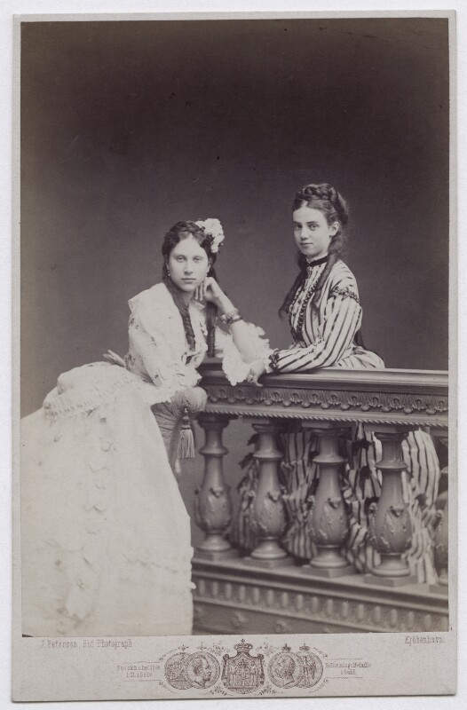 Louise, Queen of Denmark and Princess of Sweden; Thyra, Crown Princess of Hanover and Duchess of Cumberland and Teviotdale, by J. Petersen, circa 1869 - NPG x136654 - © National Portrait Gallery, London