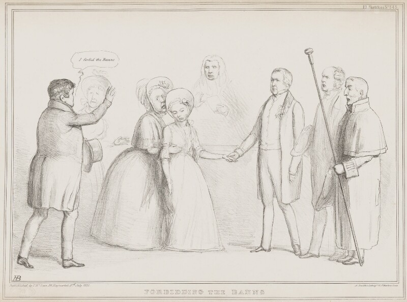 Forbidding the Banns, by John ('HB') Doyle, printed by  Alfred Ducôte, published by  Thomas McLean, published 3 July 1838 - NPG D41479 - © National Portrait Gallery, London