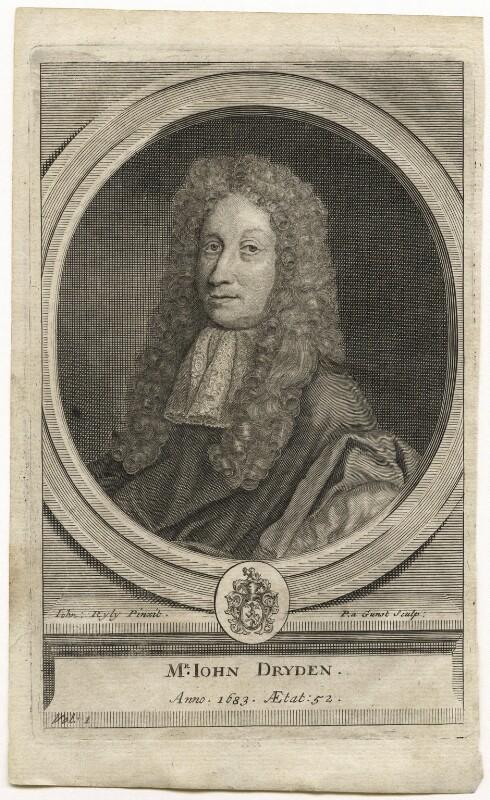 John Dryden, by Pieter Stevens van Gunst, after  John Riley, circa 1709 (1683) - NPG D42577 - © National Portrait Gallery, London