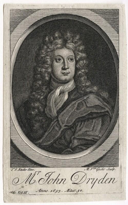 John Dryden, by Michael Vandergucht, after  Sir Godfrey Kneller, Bt, early 18th century (1693) - NPG D42578 - © National Portrait Gallery, London