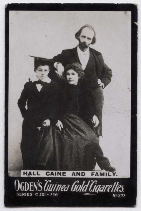 'Hall Caine and family' (Mary Alice (née Chandler), Lady Caine and Sir (Thomas Henry) Hall Caine with their son), published by Ogden's, published circa 1894-1907 - NPG x136688 - © National Portrait Gallery, London