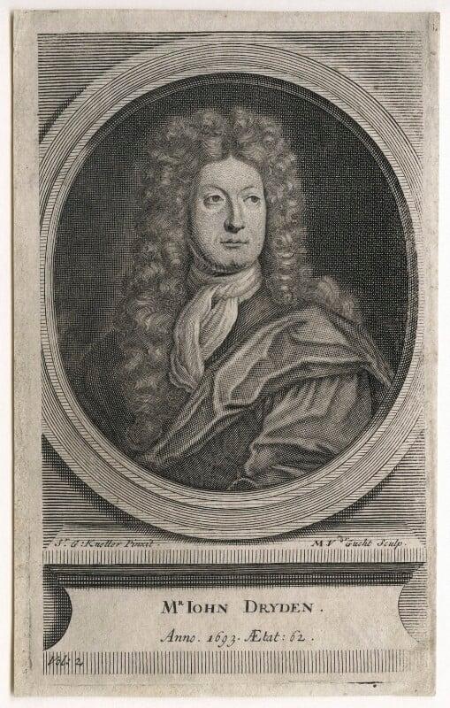 John Dryden, by Michael Vandergucht, after  Sir Godfrey Kneller, Bt, circa 1709 (1693) - NPG D42579 - © National Portrait Gallery, London