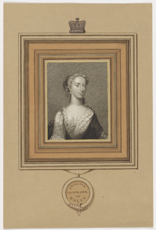 Augusta of Saxe-Gotha, Princess of Wales, by Charles Picart, drawn by  Gardner, published by  T. Cadell & W. Davies, after  Christian Friedrich Zincke, published 1807 - NPG D42593 - © National Portrait Gallery, London