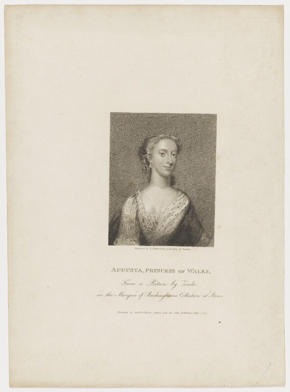 Augusta of Saxe-Gotha, Princess of Wales, by Charles Picart, drawn by  Gardner, published by  T. Cadell & W. Davies, after  Christian Friedrich Zincke, published 1807 - NPG D42595 - © National Portrait Gallery, London