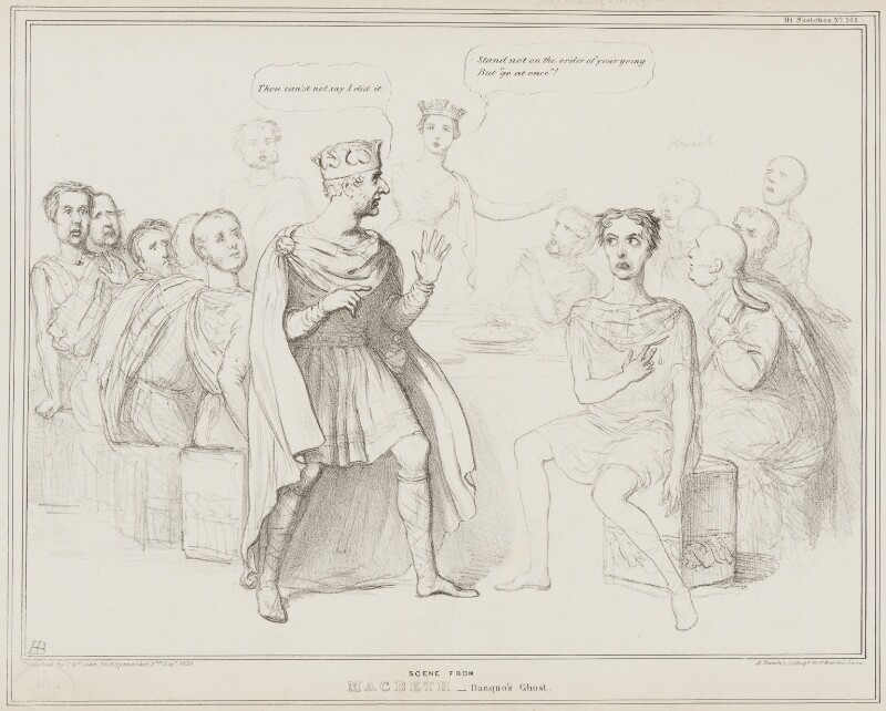 Scene from Macbeth - Banquo's Ghost, by John ('HB') Doyle, printed by  Alfred Ducôte, published by  Thomas McLean, published 3 December 1838 - NPG D41496 - © National Portrait Gallery, London