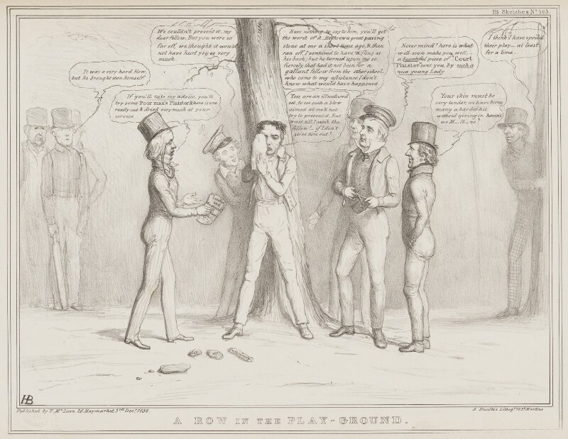 A Row in the Play-Ground, by John ('HB') Doyle, printed by  Alfred Ducôte, published by  Thomas McLean, published 3 December 1838 - NPG D41497 - © National Portrait Gallery, London