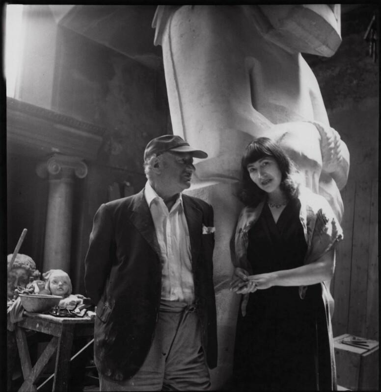 Sir Jacob Epstein; Kathleen Esther (née Garman), Lady Epstein, by Ida Kar, circa 1953 - NPG x136749 - © National Portrait Gallery, London