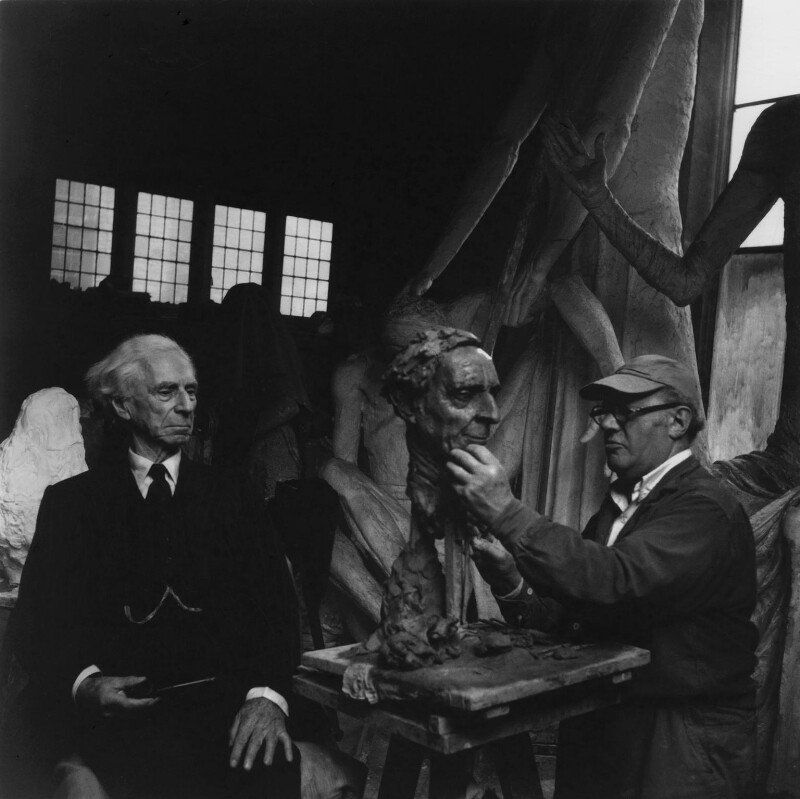 Bertrand Arthur William Russell, 3rd Earl Russell; Jacob Epstein, by Ida Kar, 1953 - NPG x136751 - © National Portrait Gallery, London