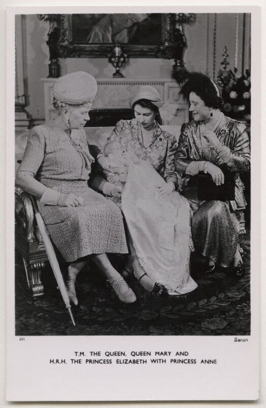 Queen Mary; Princess Anne; Queen Elizabeth II; Queen Elizabeth, the Queen Mother, by Baron (Sterling Henry Nahum), published by  Raphael Tuck & Sons, 21 October 1950 - NPG x136771 - © Baron/Camera Press
