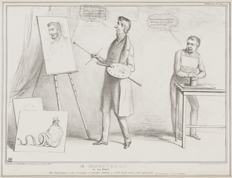 HB Discovered!, by John ('HB') Doyle, printed by  Alfred Ducôte, published by  Thomas McLean, published 26 March 1839 - NPG D41515 - © National Portrait Gallery, London